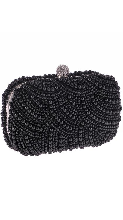 กระเป๋าคลัชออกงานสีดำ ประดับมุกทั้งใบ ถือออกงาน ไปงานงานแต่งงาน ลุคสวยหรู ดูดีสุดๆ