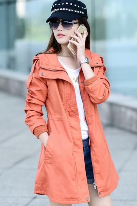 เสื้อกันหนาวผู้หญิง เสื้อกันหนาวแฟชั่นเกาหลี สีส้ม มีฮู้ด ชุดยาวคลุมสะโพก