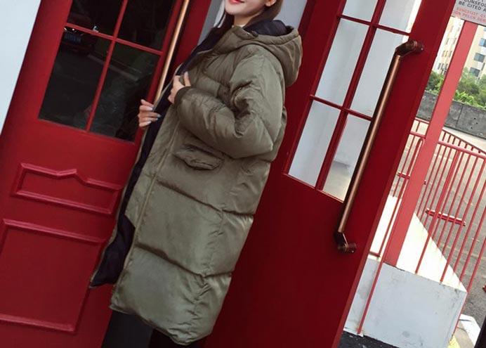 เสื้อกันหนาวผู้หญิงแฟชั่นเกาหลี สีเขียวทหาร แจ็คเก็ตมีฮู้ด ยาวคลุมเข่า หนาวๆ เอาอยู่
