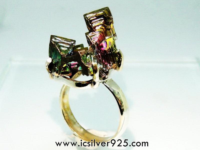 บิสมัท Bismuth แหวนเงินแท้ 925 (แหวนเบอร์ : 56)