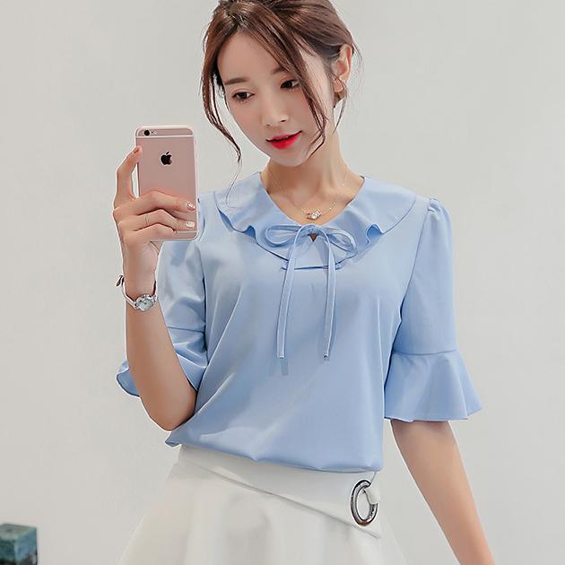 เสื้อเชิ้ตผู้หญิงทำงานสีฟ้า คอระบาย แขนสั้น