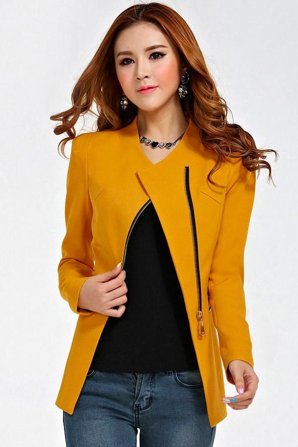 (สินค้าหมด) เสื้อสูทแฟชั่น เสื้อสูทผู้หญิง สีเหลือง แบบซิปรูด ทรงเข้ารูป