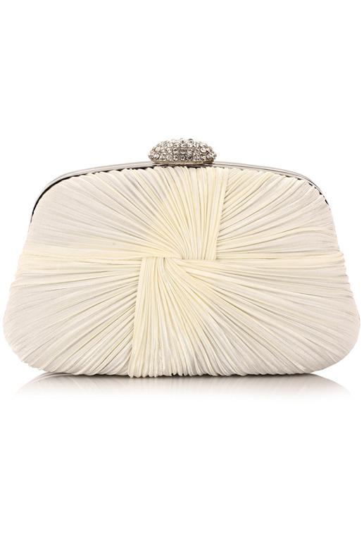 กระเป๋าออกงานทรงสีเหลี่ยมคางหมู สีขาวขุ่น