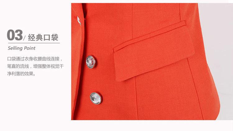 เสื้อสูทแฟชั่น เสื้อสูทผู้หญิง สีส้ม คอปก แต่งแขนพับลายทาง