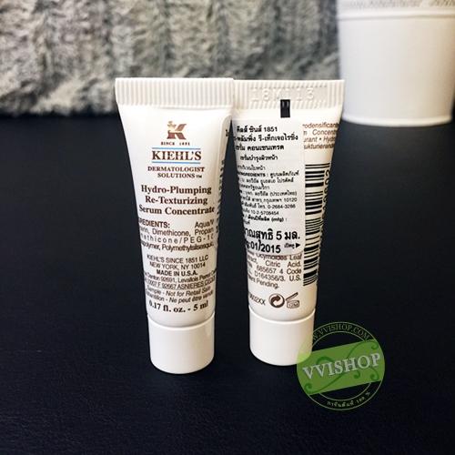 Kiehls Hydro-Plumping Re-Texturizing Serum Concentrate 5 ml. ผิวแห้งขาดน้ำ ผิวฟูดูอิ่มเอิบ ริ้วรอยลดลง เปล่งปลั่ง *พร้อมส่ง*