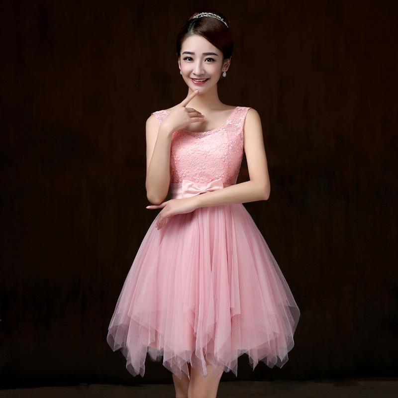 ชุดราตรีสั้น ชุดเพื่อนเจ้าสาว ชุดไปงานแต่งงาน สีชมพู แขนกุด เอวแต่งโบว์สวยๆ แนวหวาน น่ารัก