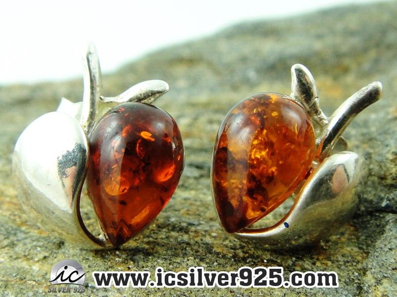 อำพัน Amber - ต่างหูเงินแท้ 925 (2g)