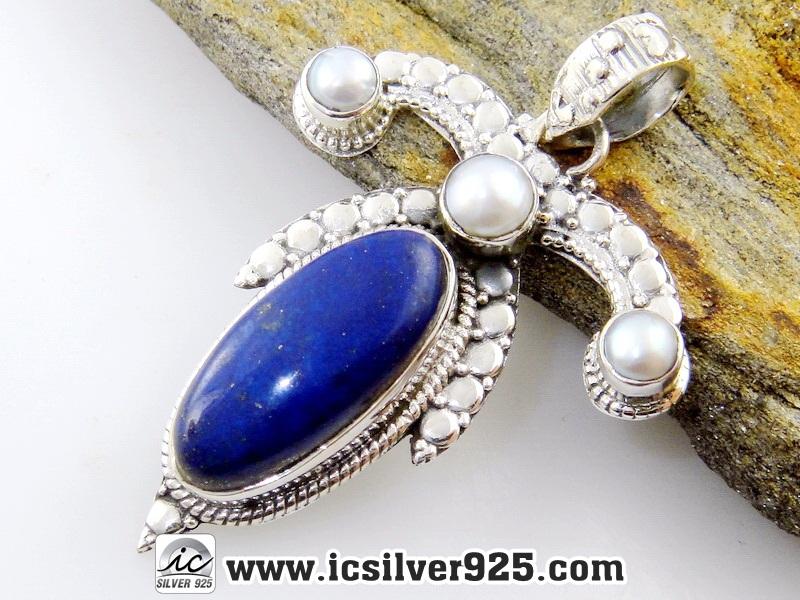 ▽ลาพิส ลาซูลี่ (Lapis Lazuli) และไข่มุก จี้เงินแท้ 925 (7.6g)