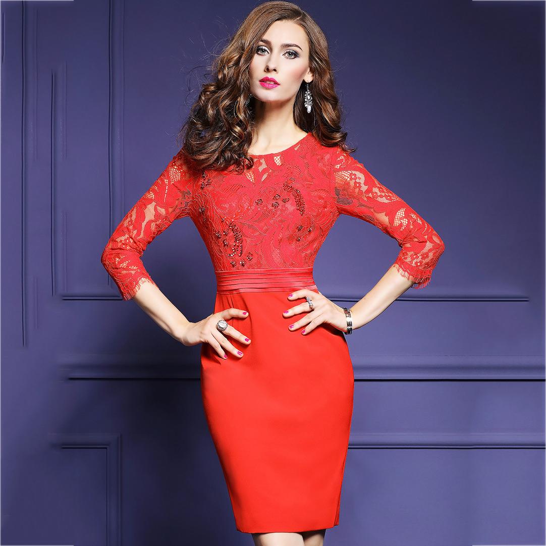ชุดเดรสสั้นสีแดง ลูกไม้เกรดดีทอฉลุลาย ทรงเข้ารูป แขนยาว ลุคเรียบหรู สวยสง่า ดูดี ใส่ออกงาน ไปงานแต่งงาน หรือใส่ทำงานได้