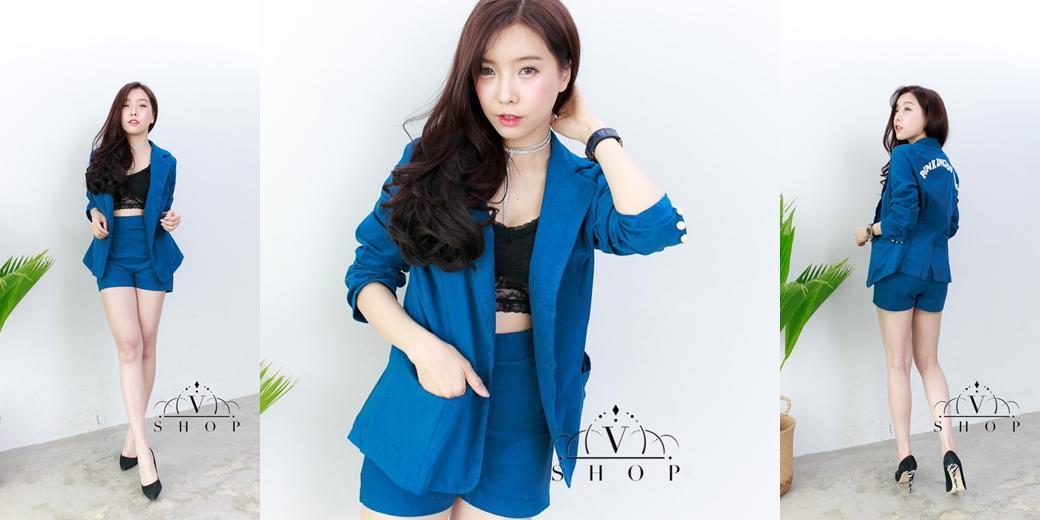 ชุดสูทแฟชั่นสีน้ำเงิน เซ็ทเสื้อ + กางเกงขาสั้น เอาใจสาวๆ สไตล์ออฟฟิต