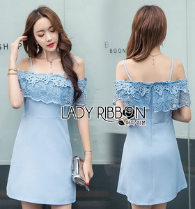 Lady Ribbon Baby Blue Lace and Crepe Mini Dress