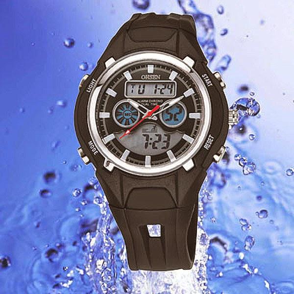 OHSEN – AD1102-1: นาฬิกาข้อมือสปอร์ต 2 ระบบ / ปลุก / จับเวลา สีดำ