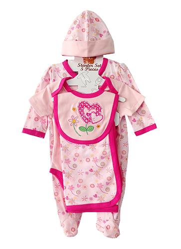 **Nannette** WT528 Size 0/3, 3/6, 6/9m เสื้อผ้าเด็กขายส่ง ชุดเซ็ต 5 ชิ้น ในแพคมี ชุดหมีแขนยาว, บอดี้สูทแขนสั้น, ผ้าห่ม, ผ้ากันเปื้อน และ หมวก ครบชุดค่ะ ยกแพค 6 เซ็ต ครบไซส์ ต่อแบบ