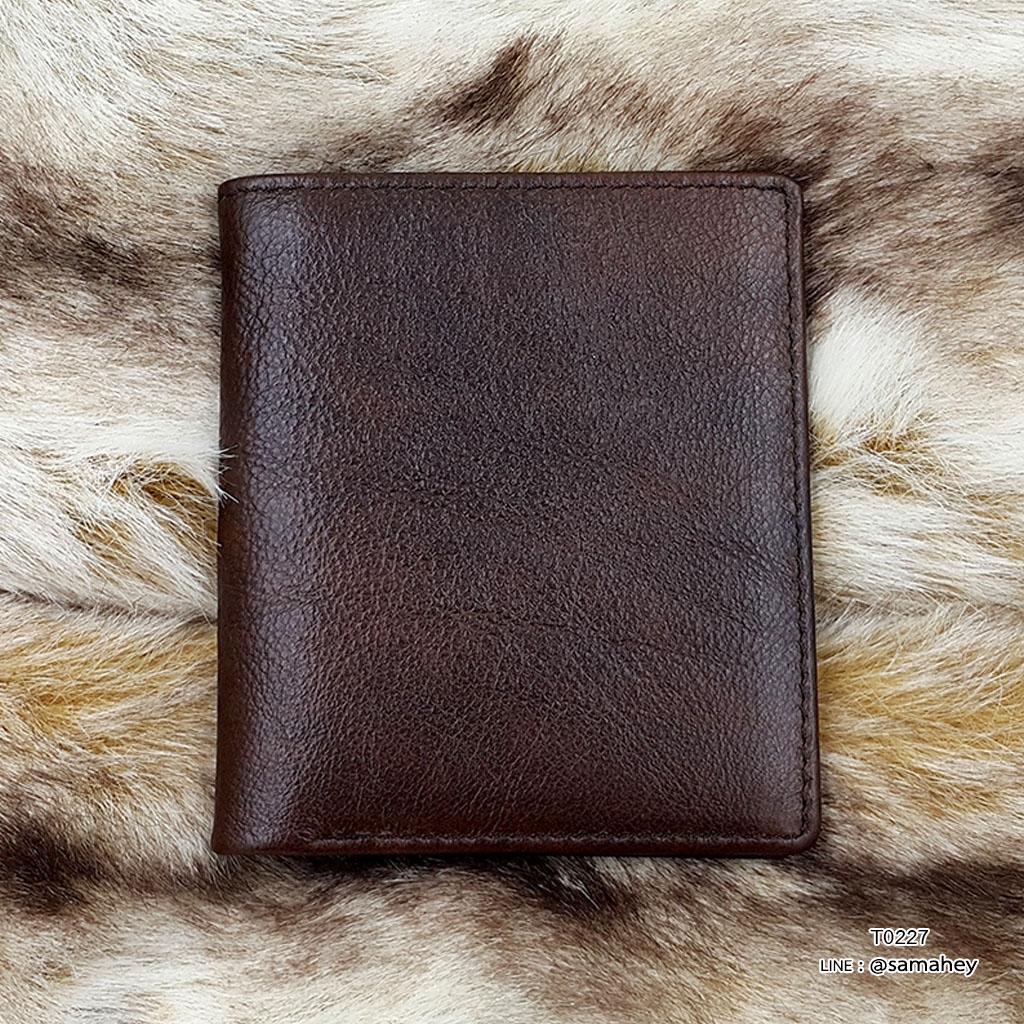 กระเป๋าสตางค์ผู้ชาย หนังแท้ ทรงตั้ง Leather Clear - สีน้ำตาลเข้ม