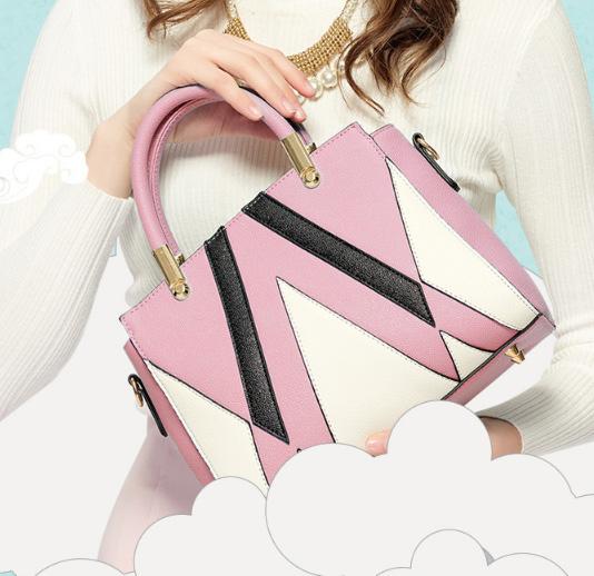 ขายส่งกระเป๋ากระเป๋าถือและสะพายข้าง ตัดเย็บสลับสีแฟชั่นเกาหลี Sunny-913 สีชมพู