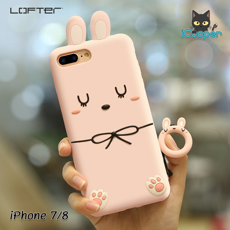 LOFTER Rabbit Silicone Ring - Pink (iPhone7/8)