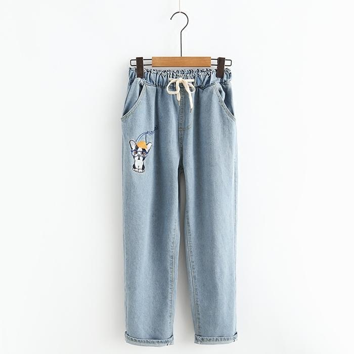 กางเกงยีนส์ปักแต่งลาย เอวยืด (มีให้เลือก 2 สี 3 ไซส์)