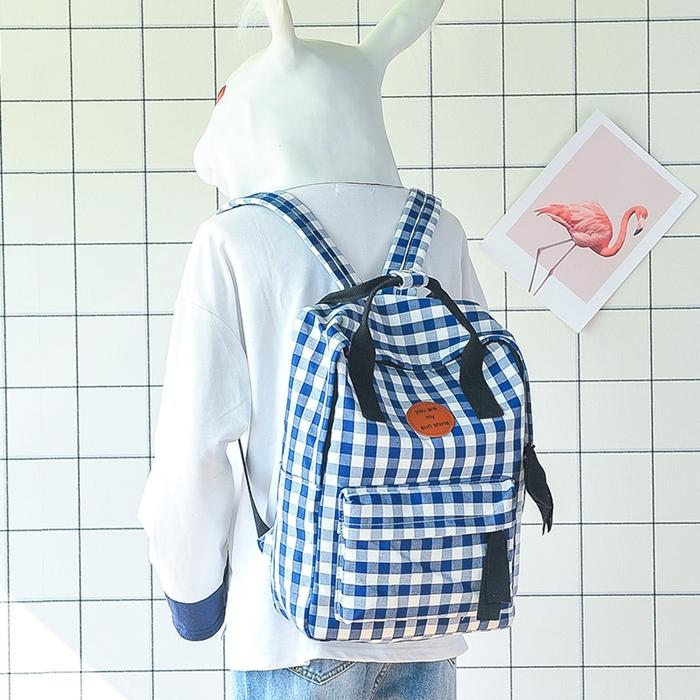 กระเป๋าเป้ผ้า Canvas ลายสก๊อต/ลายผ้าขาวม้า (มีให้เลือก 2 ทรง 3 สี)