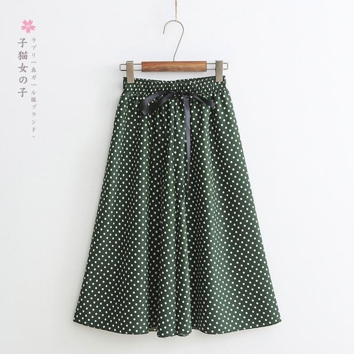 กางเกงชีฟองขายาวเอวยืด ลายจุด (มีให้เลือก 6 สี)