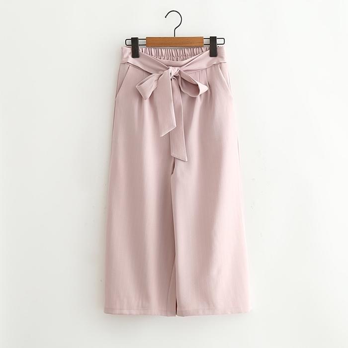 กางเกงขายาวเอวยืดคาดโบว์ผูก (มีให้เลือก 3 สี 2 ไซส์)