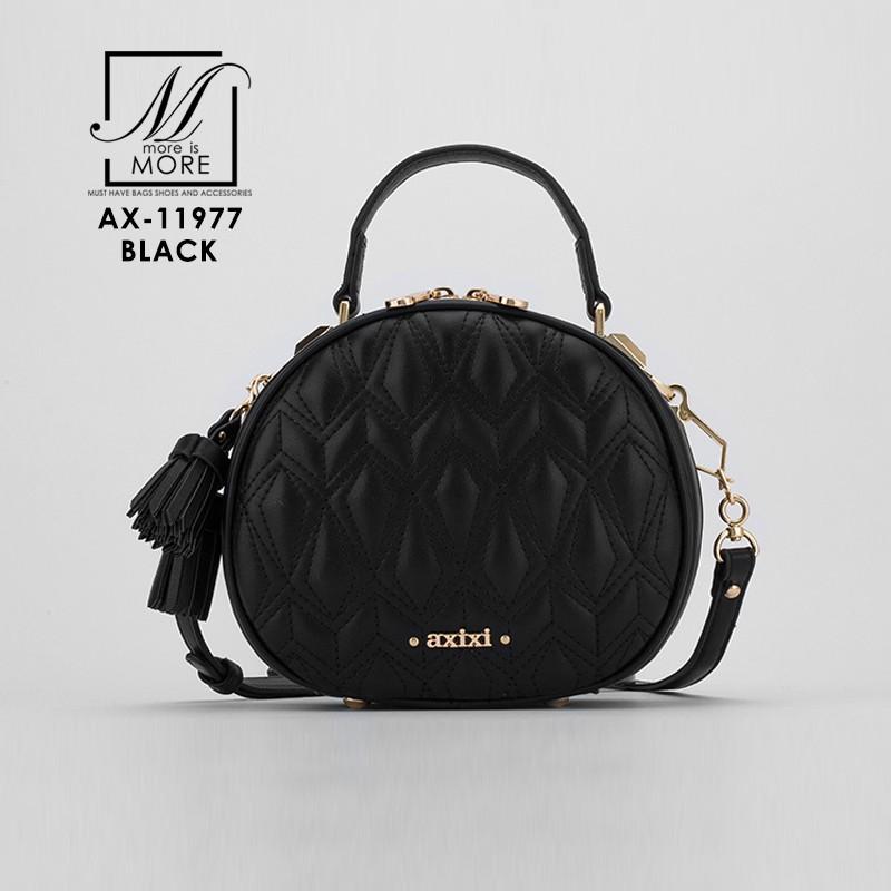 กระเป๋าสะพายกระเป๋าถือ แฟชั่นนำเข้าสุดน่ารัก แบรนด์ axixi แท้ AX-11977-BLK (สีดำ)