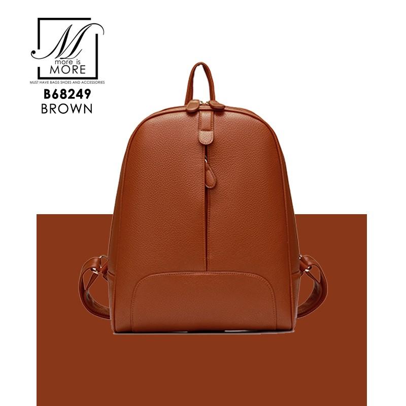 กระเป๋าสะพายเป้กระเป๋าถือ เป้แฟชั่นนำเข้าดีไซน์เก๋ส์ B68249-BRO (สีน้ำตาล)
