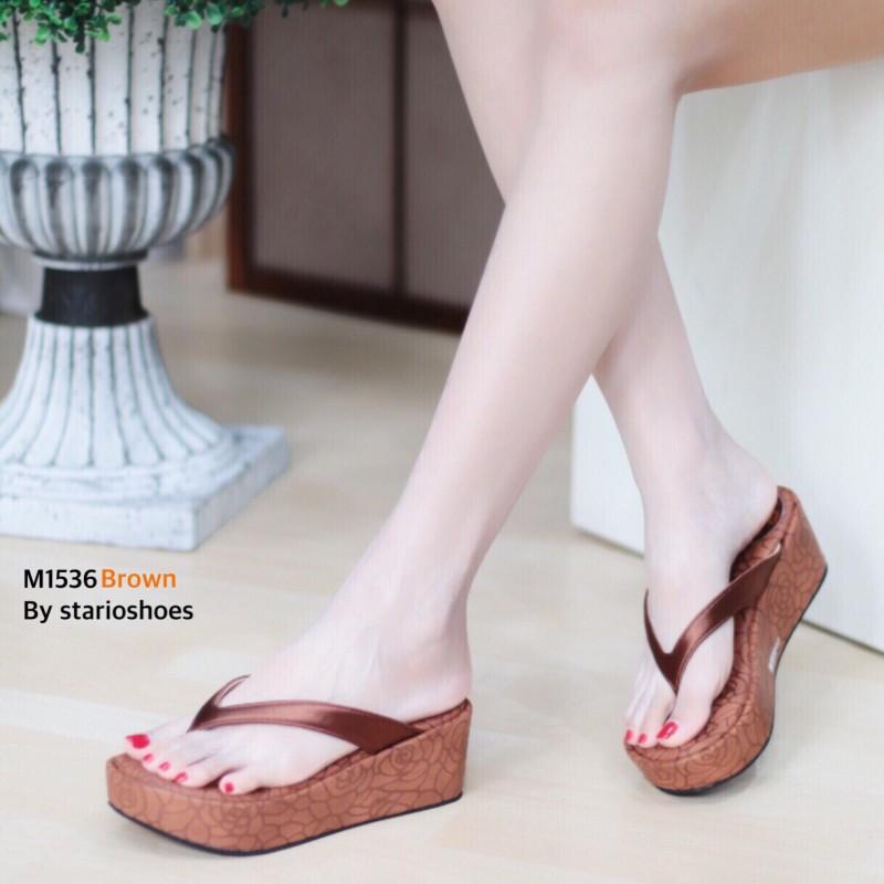 พร้อมส่ง รองเท้าเพื่อสุขภาพ หนีบส้นโฟม M1536-BRN [สีน้ำตาล]