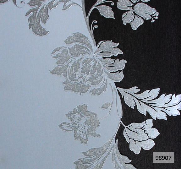 วอลเปเปอร์ลายดอกไม้โมเดิร์นสีเทา-ดำ