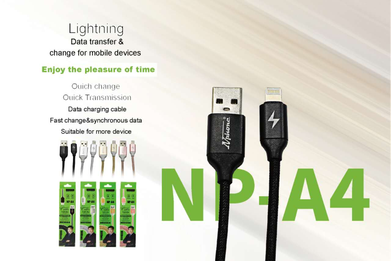 สาย USB (NP-A4) สี ชมพู,ดำ,ทอง,เงิน // มี I Phone / Samsung Micro / Type-C