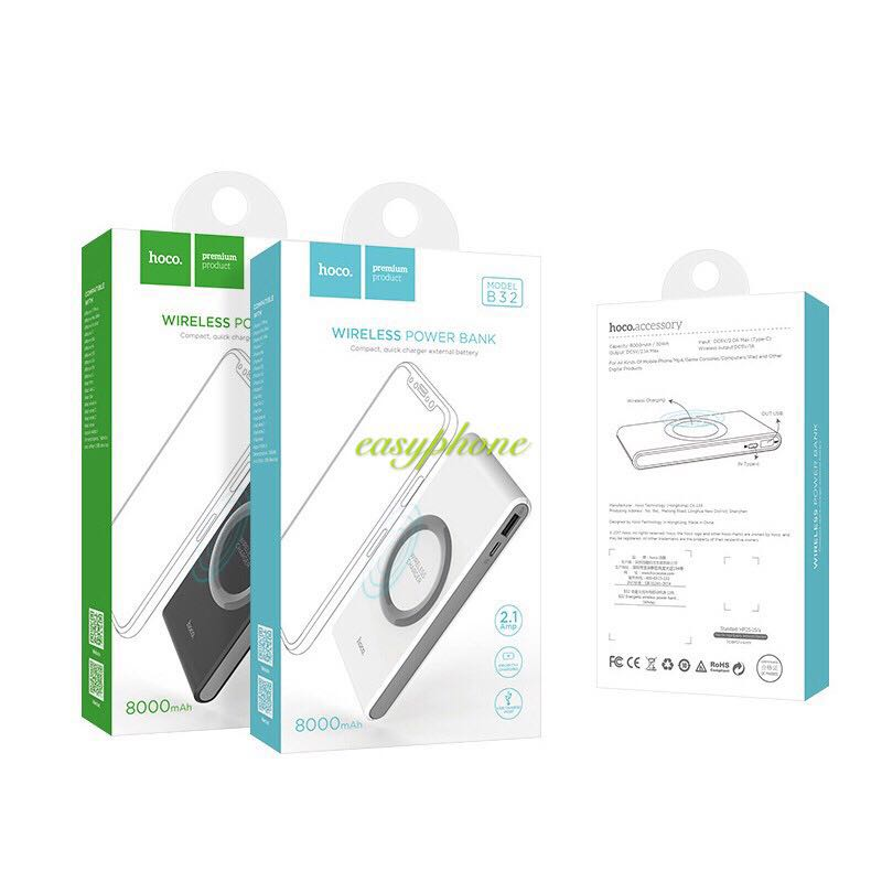 Hoco Wireless PowerBank(แบสำรอง) 8000mAh แท้100%