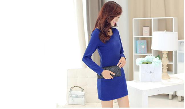 ชุดเดรสทำงานแฟชั่นเกาหลีผ้าโพลีเอสเตอร์สีน้ำเงิน