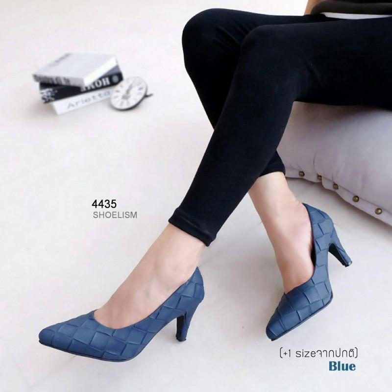 รองเท้าคัทชู ส้นสูง หนังตาราง สไตล์แมกซี่ (สีน้ำเงิน )