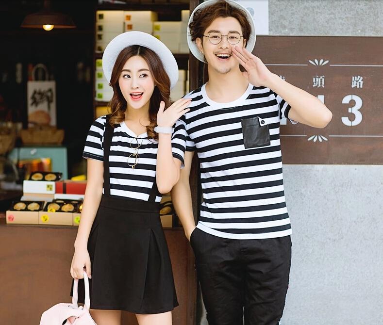 ชุดคู่รักแฟชั่นเกาหลีลายสก็อตสีขาวดำ