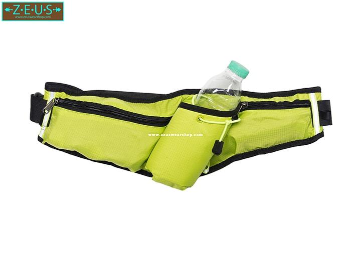 กระเป๋าคาดเอววิ่ง สีเขียวอ่อน มีช่องใส่ขวดน้ำ ที่เก็บของ 2 ช่อง