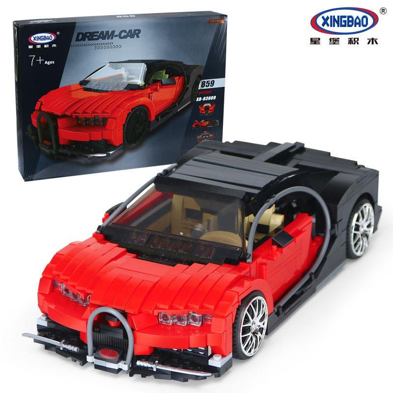 XB-03009 ของเล่นตัวต่อ Dream Car รถสปอร์ต Bugatti Racing สีแดง