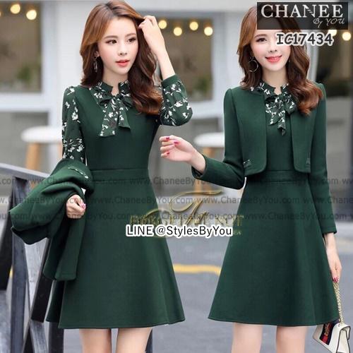 Dress ทรง a+เสื้อคลุมตัวสั้น เปน Dress คอกลมแขนยาว ทรงบาน เนื้อผ้าสำลี เนื้อผ้าดีมาก เนื้อผ้าเกรดดี มีคุณภาพ