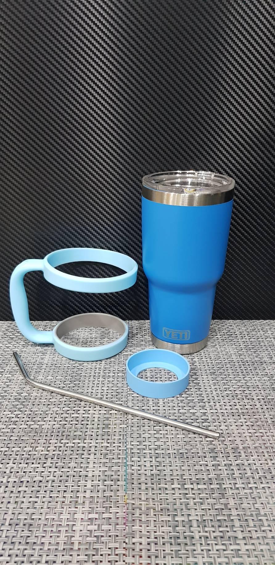 ชุดแก้วเยติ 30 ออนซ์ พื้นสีฟ้า ขอบเงิน