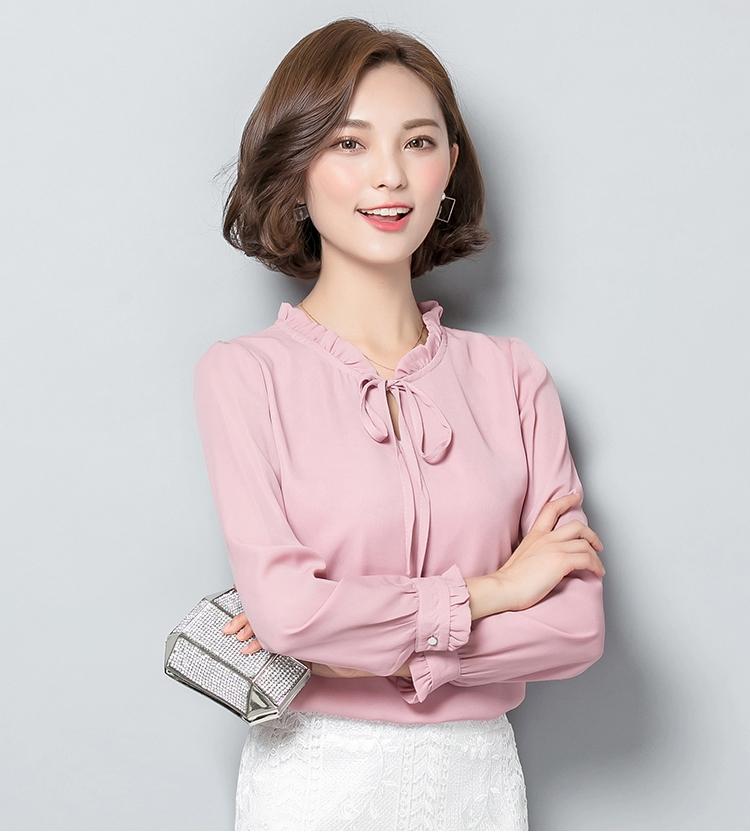 เสื้อชีฟองแขนยาวสีชมพู