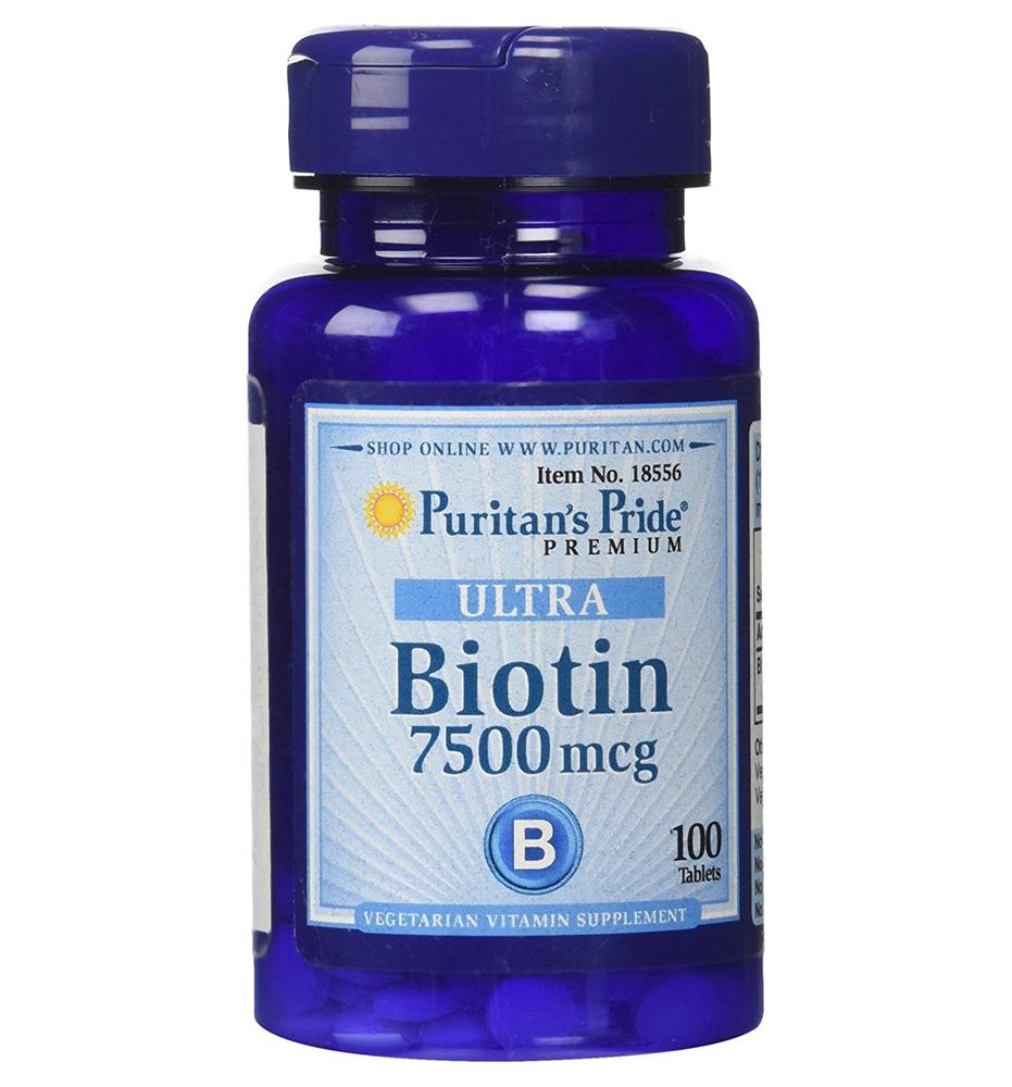 Puritan's Pride ULTRA Biotin 7500 mcg 100 เม็ด วิตามินบำรุงผม ผิว เล็บ ทานเพียงวันละ 1 เม็ดค่ะ