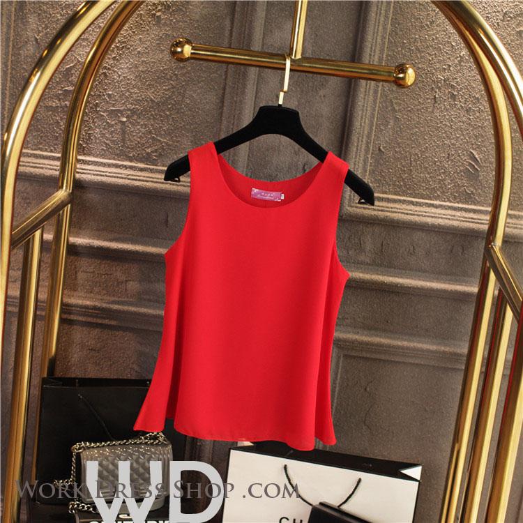 Pre-order เสื้อทำงาน สีแดง เสื้อคอกลมแขนกุด เนื้อผ้าซีฟองอย่างดีพร้อมซับใน ใส่ด้านในสูทก็สวยเก๋