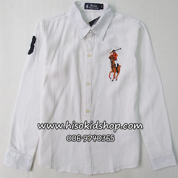 1055 Polo By Ralph Lauren Shirt - White ขนาด 7 ปี