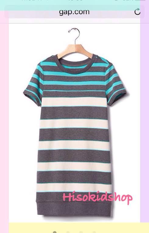 1677 Gap Kids Striped Dress - Garden Green ขนาด S(6-7) ปี