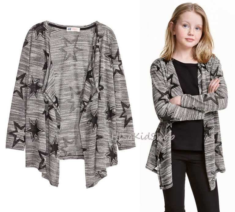 1235 H&M Patterned Cardigan - Black สำหรับเด็กโต (ชน shop) ขนาด 8-10,10-12,14+ ปี