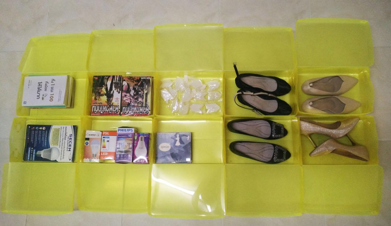 """กล่องอเนกประสงค์แบบเปิดฝาบน ใส่ได้สูงสุดไซส์ 40 สีเหลือง """"Small Size"""" (10 กล่อง)"""