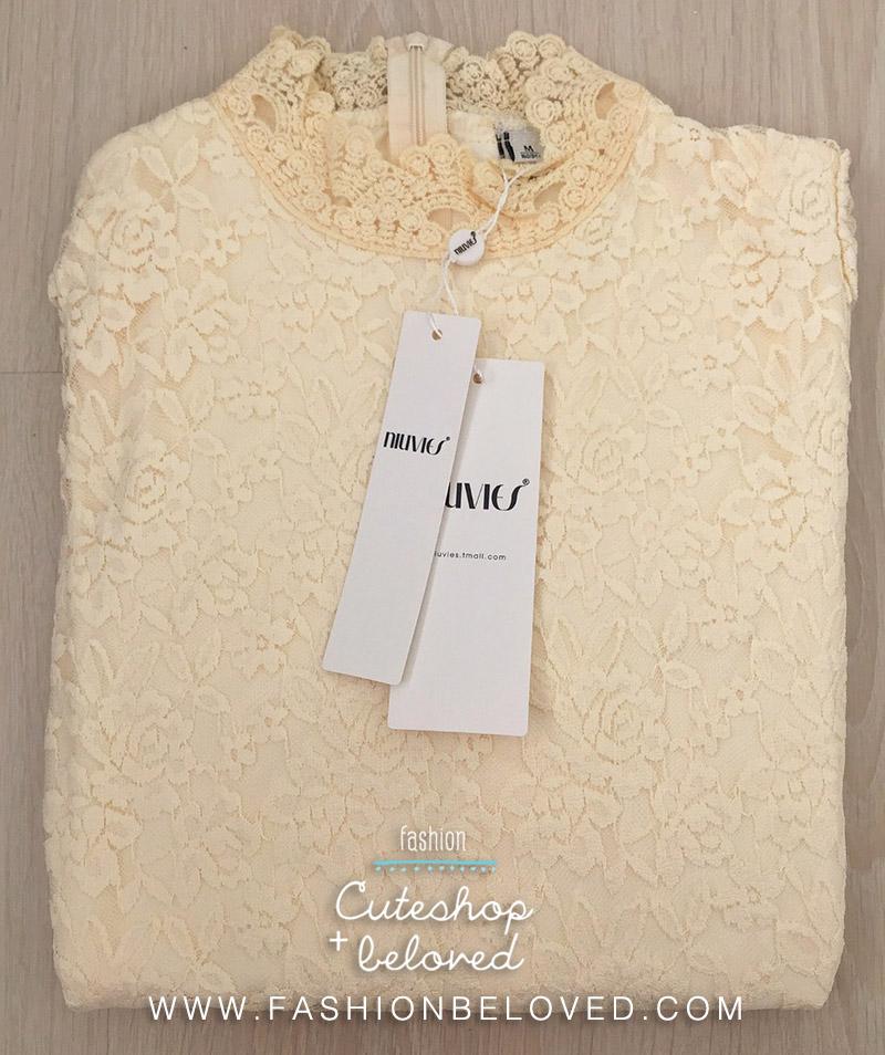 เสื้อลูกไม้สวยๆ แฟชั่นเกาหลี สีขาว แขนยาว เสื้อลายลูกไม้ใส่ออกงาน