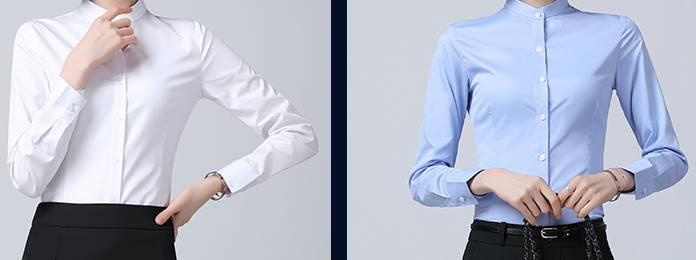 เล็กใหญ่พิเศษ!!เสื้อเชิ้ตแขนยาวผู้หญิง คอจีน กระเป๋า เข้ารูป size No.XS-4XL สีขาว ฟ้า เทา