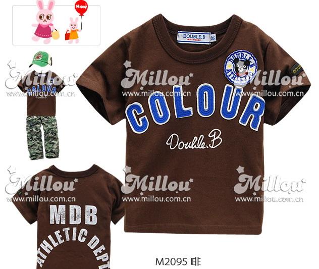 M2095-DB DOUBLE.B Miki house เสื้อยืดเด็ก สีน้ำตาลเข้ม (ช็อกโกแลต) ปักแปะ COLOUR และตราสัญลักษณ์ ด้านหลังสกรีนลาย Size 80/90/110/120