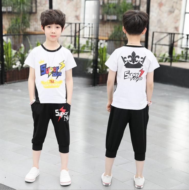 เสื้อ+กางเกง สีขาว แพ็ค 5 ชุด ไซส์ 120-130-140-150-160 (เลือกไซส์ได้)