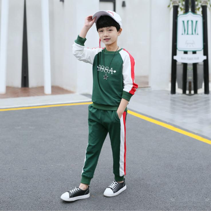 เสื้อ+กางเกง สีเขียว แพ็ค 5 ชุด ไซส์ 120-130-140-150-160 (เลือกไซส์ได้)