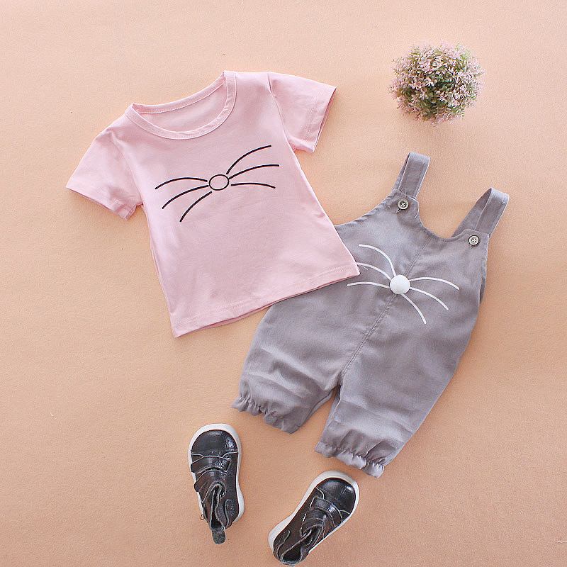 ชุดเซตเสื้อแขนสั้นสีชมพู+เอี๊ยมหนูสีเทา แพ็ค 4 ชุด [size 6m-1y-18m-2y]